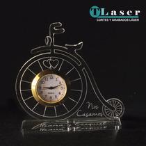 Souvenir Acrilico Boda Bicicleta Reloj C /tus Datos Grabados