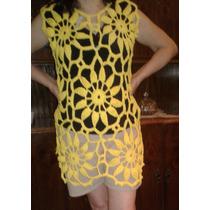 Vestido Playero Tejido Crochet Hilo Mujer Verano En Venta En