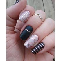 24 Cintas Nail Art Metalizadas Glitter Pack Decoracion Uñas