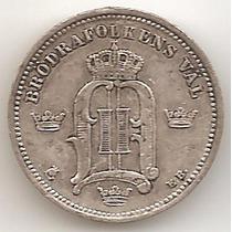Suecia, 10 Ore, 1897. Plata. Xf