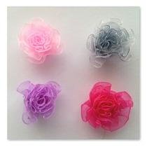 Flores Para Vinchas De Nena Artesanales Organza Colores