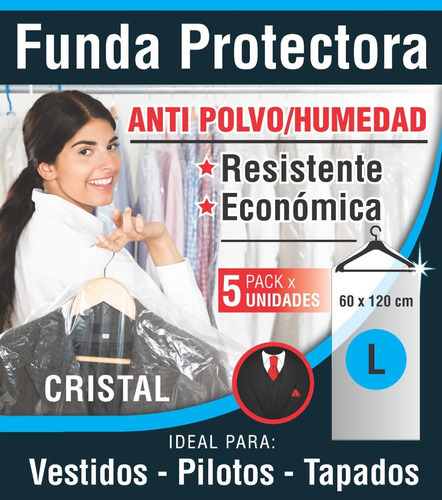 Fundas Bolsas Ropa Vestidos Antihumedad 60x120 Cm. X 5 U.