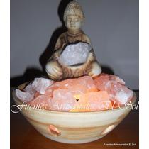 Lámpara De Sal Del Himalaya Con Buda Y Piedra De Cuarzo