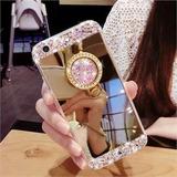 Funda Para Samsung Anillo De Cristal Strass Brillo Espejada