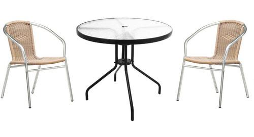 Juego De Jardin Moderno! Mesa +2 Sillas Aluminio en venta en ...