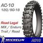 Cubierta 120 90 18 Michelin Ac10 Beta 525,crf 250 L, Crf 450