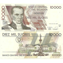 Billete Ecuador 10.000 Sucres Año 1999 Sin Circular