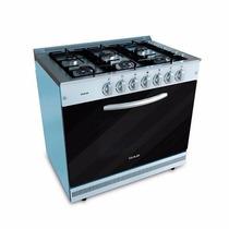 Cocina Usman Semi Industrial 90cm Acero Negra 6 Hornallas