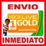 Xbox Live Gold 1 Mes - Region Libre - Xbox 360 Y Xbox One