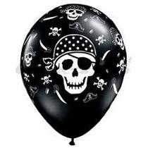 Globos Impresos Piratas Negros De 12 Pulgadas X 10 Unidades
