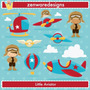 Kit Imprimible Piloto Aviones 4 Imagenes Clipart