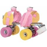 Patines Leccese Rosa Amarillo Clasico Roller Extensibles Par