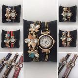 Reloj Vintage Cuero Con Dije De Flores Y Strass X 5 Unidades *** Full-time Mania *** Mercadolider Platinum !!