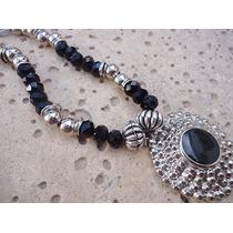 Collar Colgante Cristal De Roca Y Dije - X Mayor Y Menor
