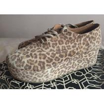 Botitas De Leopardo Paruolo Con Plataforma Talle 40