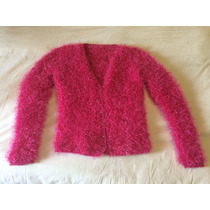 Sweater Pullover Saco Lana Tejido A Mano Pelo Mono Fucsia