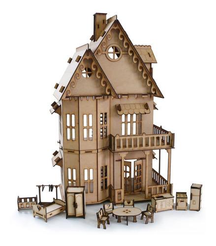 Casita De Muñecas Fibrofacil + 25 Muebles Casa Full Oferta !