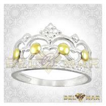 Anillo Corona De Plata 925 Y Oro 18 Kts + Estuche Ac009