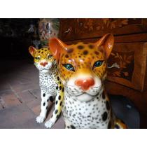 Historical*- Hay 2 Leopardos Figuras Cerámica 57 Cm -envio