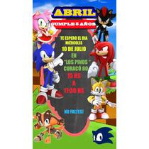 Sonic Tarjeta Invitación Digital Imprimible Whatsapp En
