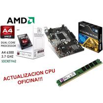 Actualizacion Cpu Pc Oficina Amd A4 3.7ghz 4gb Mother Fm2