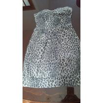 Vestido Strapless Corset Talle 2 Nuevo Animal Print