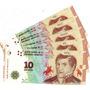 5 Billetes De 10 Pesos Nuevo Diseño. S/c. Numeros Consecutiv
