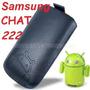 Funda De Cuero C/tira Extractora Negra Samsung Chat S222!