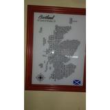 Cartel Destilerías De Escocia, Cuadro Para Pub, Whisky