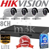 Kit Seguridad Hikvision Full Hd Lite Dvr 8 + 4 Camaras + 1tb
