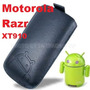 Funda De Cuero C/tira Extractora Negra Motorola Razr Xt910