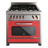 Cocina Morelli Vintage 900 5 Hornallas  A Gas/eléctrica Roja Puerta Visor