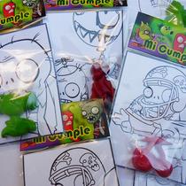 Souvenirs - Plants Vs Zombies- Crayones Y Laminas- Pack X16