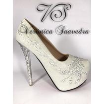 Zapato Mujer Blanco Novia Fiestas Egresadas