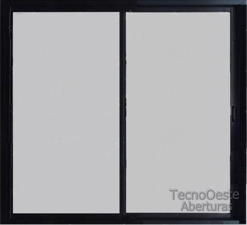 Aberturas ventana aluminio negro vidrio entero 4mm 150x150 for Ventanas de aluminio precios argentina
