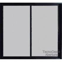 Aberturas Ventana Aluminio Negro Vidrio Entero 4mm 100x90 Cm