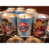 Souvenir Avengers Alcancias De Lata Con Tapa Desmontable