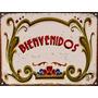 Carteles De Chapa Vintage Fileteado Bienvenidos No Es Vinilo