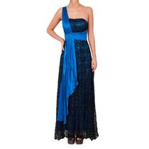 Vestido Largo De Encaje, Un Solo Hombro, Brishka, V-0012