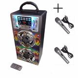 Parlante Portatil 672 + 2mic Recargable Mp3 Usb Sd Karaoke