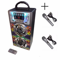Parlante Portatil 672 + 2mic Recargable Mp3 Usb Sd Karaoke