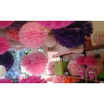 Pompones Y Flores De Papel Seda $4