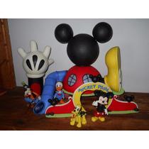 Casa De Mickey Mouse Con 4 Personajes En Porcelana Fría