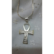 Llave De La Vida O Cruz Egipcia Plata 925 Y Oro