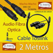 Cable Audio Digital Toslink Fibra Óptica 2 Metros.