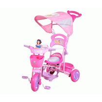 Triciclo Princesas Disney Con Toldo, Manija Y Apoya Pies
