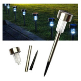 Estaca Solar Farol Acero Inoxidable Led Lampara Jardin