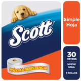 Papel Higienico Scott Simple Hoja 30 Metros X 6 Rollos