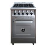 Cocina Industrial Morelli Country 600 4 Hornallas  Multigas Plateada 220v Puerta Ciega