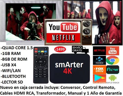 Convertidor Smart Tv Box Android Mini Pc Youtube Netflix